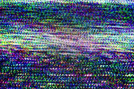 テレビ損傷、悪い同期テレビ チャネル、アナログ技術の背景として貧しい放送信号の受信から静的なノイズと RGB 液晶テレビの画面。 写真素材