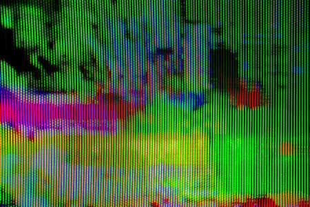 Digital TV broadcast glitch, television screen as technology background