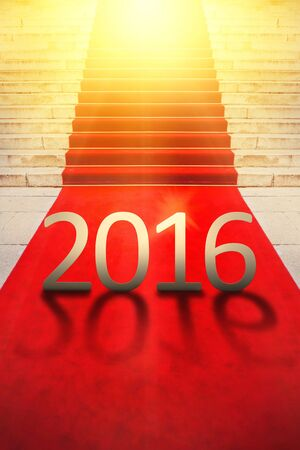 Happy New Year 2016, Exclusive Red Carpet Concept for Vips and Celebrities Ceremonial Celebration Event. Stock Photo