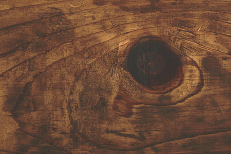 heartwood: Retro toned rustic wood knot on oak plank texture, used stained wooden board with growth rings