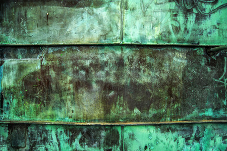 oxidized: Oxidized Green Copper Metal Plate Texture as Industrial Rustic Background