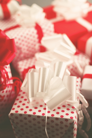 giftware: Christmas gifts, time for giving and sharing, retro toned giftware, selective focus with shallow depth of field Stock Photo