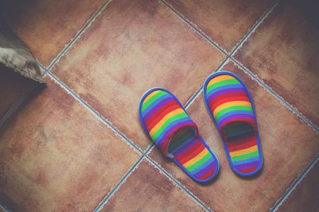 délivrance: Rétro tons couleur arc-en-modèle pantoufles sur carrelage en céramique avec la lumière naturelle de la fenêtre, de la fierté LGBT et de sortir du concept de placard, vue de dessus