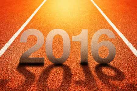 competitive sport: 2016 Happy New Year, Athletics Sport Running Track Concept Stock Photo