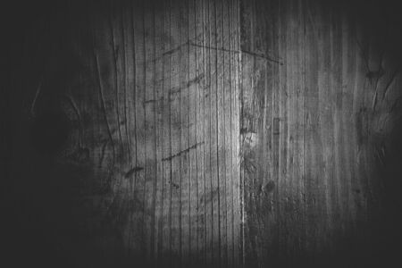 black wood texture: Old black and white wood texture for background, monochromatic wooden plank sample, retro toned with vignette Stock Photo