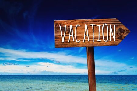 summer sign: Vacation Season, Rustic Wooden Direction Sign in Coastal Summer Vacation Resort