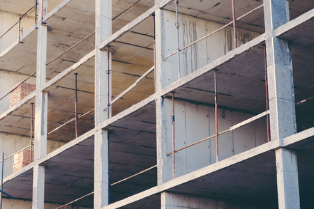 constructive: Construction industry site abstract geometric background, concrete building floors with scaffolding and constructive material