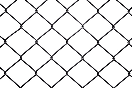 chain link fence: Rusty chain link fencing isolated on white background, metal fence diamond pattern