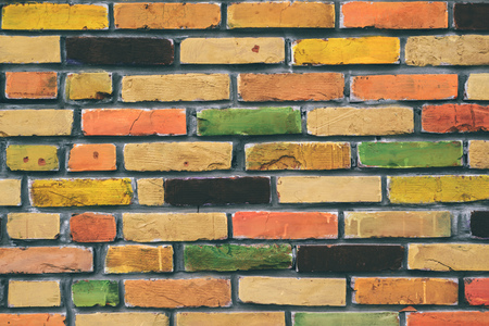 brick texture: Colorful brick wall pattern, painted bricks as urban texture