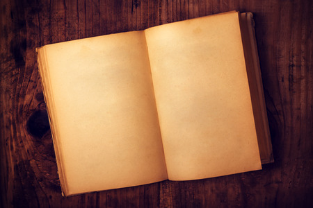 antiquarian: Top view of old open book with blank pages on wooden desk as copy space, retro toned image. Stock Photo