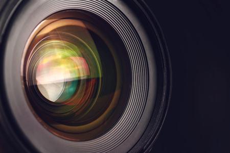 カメラ レンズ詳細、マクロ撮影、広角写真デジタル一眼レフ カメラ レンズのフロント ガラス