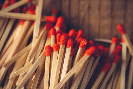 House hold safety matches pile, close up macro with selective focus Stock Photo