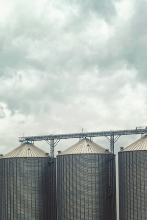 grain storage: Grain silos for harvest storage on cloudy day, bad weather forecast.