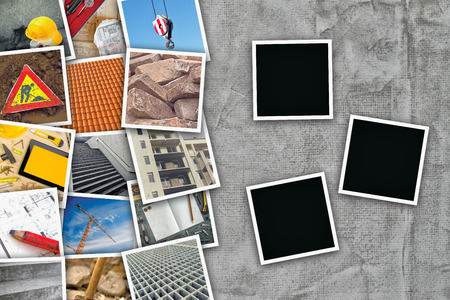 photo pictures: Construction industry themed photo collage with stacked pictures over cement conrete wall texture as copy space and three blank frames for design mock up.