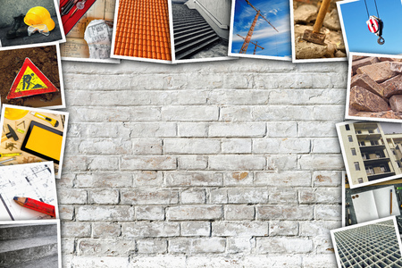 photo pictures: Construction industry themed photo collage with stacked pictures over white brick wall texture as copy space.