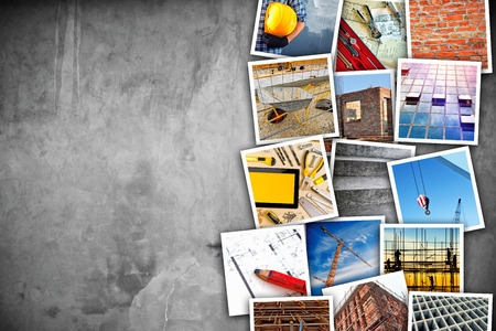 Construction industry themed photo collage with stacked pictures over cement conrete wall texture as copy space.