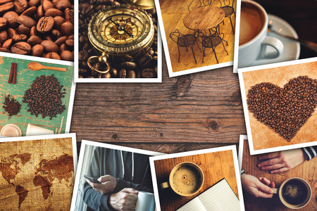 themed: Coffee photo collage, stack of coffee drink themed polaroid pictures on wooden cafe table as copy space.
