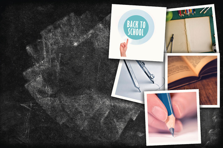 photo: Education photo collage, school related pictures on chalkboard texture as copy space Stock Photo