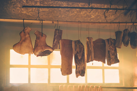 smoked bacon: Smoked bacon and other homemeade cured pork meat delicacy