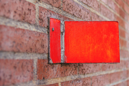number plate: Vintage house number plate on brick wall Stock Photo