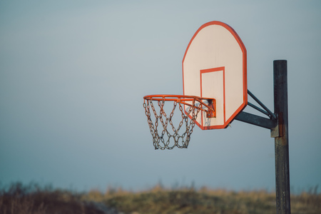 pastimes: Basketball hoop for outdoor sport activity, street ball sports and recreation activity