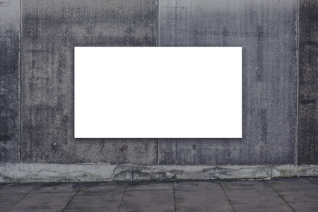 advertising space: Blank advertising billboard on concrete wall as copy space for outdoor poster ad mock up. Stock Photo