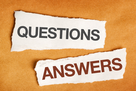 questions: Questions and answers on scrap paper, presentation slide background