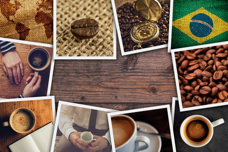 photo pictures: Brazilian coffee photo collage, stack of coffee drink themed pictures on wooden cafe table as copy space. Stock Photo