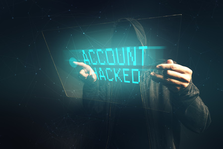 hacked: E-bank account hacked, unrecognizable computer hacker stealing personal data, internet cyber crime concept.