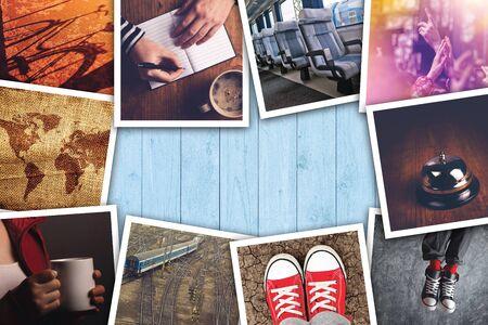 életmód: Városi fiatalok életmód fotó kollázs, vaus fiatal felnőtt életmód témájú képek fa asztal. Stock fotó