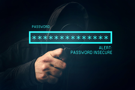 alert: Password insecure alert, unrecognizable computer hacker stealing personal data, internet cyber crime concept.