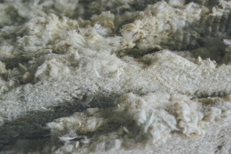 a close up: Glass wool batt macro detail, thermal insulating material Stock Photo