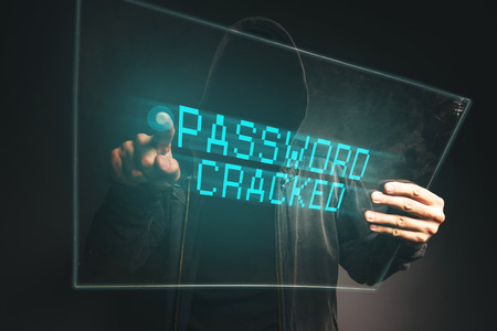 compromised: PAssword cracked, unrecognizable computer hacker stealing personal data, internet cyber crime concept.
