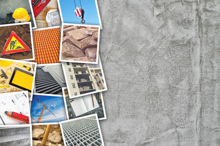 photo pictures: Construction industry themed photo collage with stacked pictures over cement concrete wall texture as copy space. Stock Photo