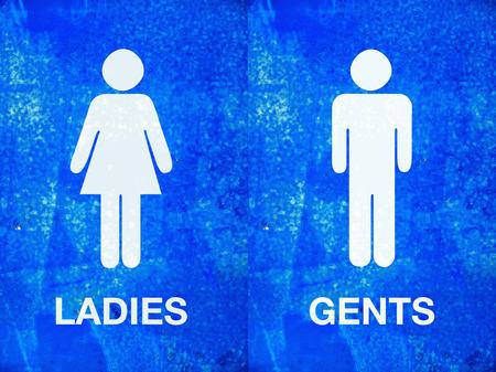 simbolo uomo donna: Signore e signori segno WC sul blu grunge texture dipinte
