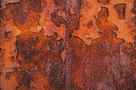 oxidized: Corroded steel iron plate texture, oxidized red metallic surface