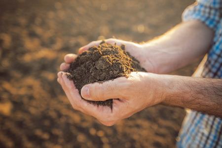 responsabilidad: Granjero con el montón de tierra cultivable en las manos, la producción agrícola responsable y sostenible, de cerca con el foco selectivo