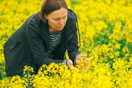 agricultural crops: Female agronomist in blooming rapeseed field, farmer controlling the growth of agricultural crops. Stock Photo