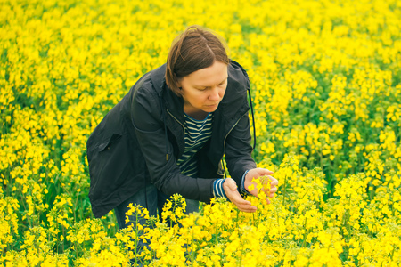agronomist: Agronomist woman examining oilseed rape flower blooming, female agricultural expert in field of blooming rapeseed examining the growth of agricultural crops. Stock Photo