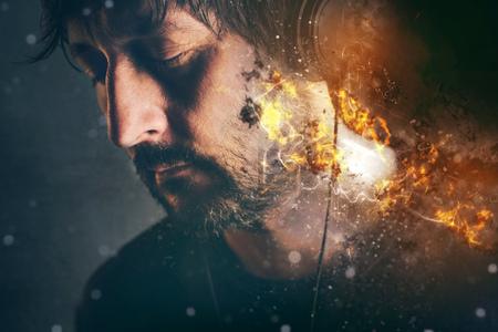 burning: DJ on fire, man with burning headphones enjoying favorite song or music, selective focus