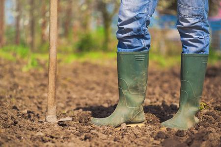 agronomist: Man hoeing vegetable garden soil, new growth season on organic farm. Stock Photo