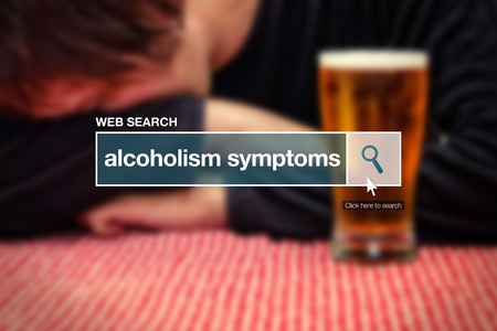the drinker: Web search bar glossary term - alcoholism symptoms definition in internet glossary.