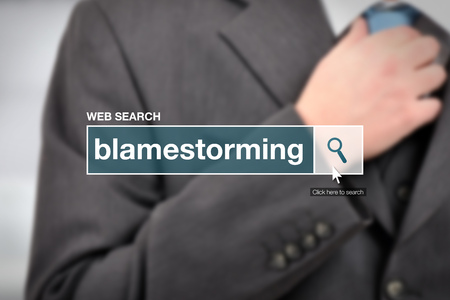 term: Web search bar glossary term - blamestorming definition in internet glossary. Stock Photo