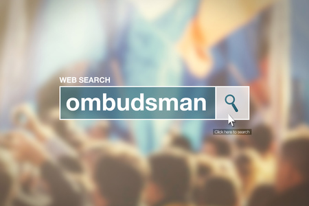 thesaurus: Web search bar glossary term - ombudsman definition in internet glossary. Stock Photo