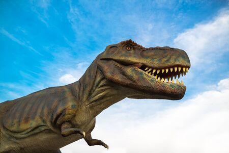 tyrannosaurus rex: NOVI SAD, SERBIA - APRIL 28, 2016: Tyrannosaurus rex (T-Rex) life-size model of prehistoric animal in theme entertainment Dino Park in Novi Sad, Serbia. Tyrannosaurus rex was one of the largest land carnivores of all time. Editorial