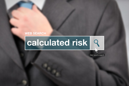calculated: Web search bar glossary term - calculated risk definition in internet glossary. Stock Photo