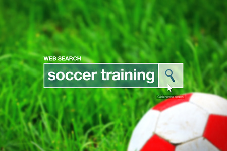 thesaurus: Web search bar glossary term - soccer training definition in internet glossary. Stock Photo