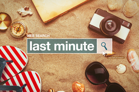 glossary: Last minute web search bar glossary term on internet, last minute tourist agency arrangement offers