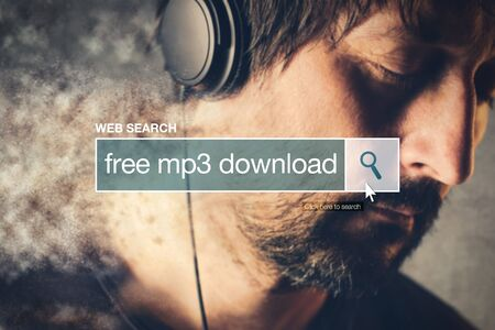 shareware: Free mp3 download web search bar glossary term on world wide web network Stock Photo