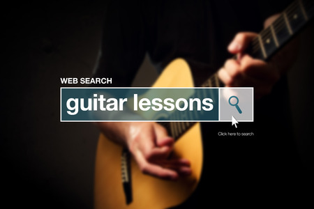 thesaurus: Guitar lessons web search box glossary term on internet Stock Photo